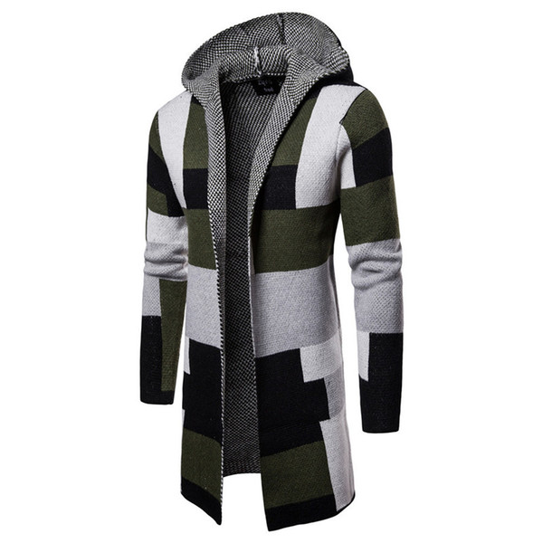 Plaid Printed Mens Designer Sweaters Long Sleeve Cardigan Hooded Mens Sweaters Fashion Contrast Color Male Clothing