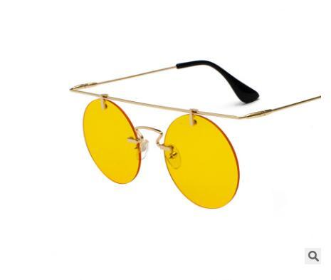 2019 nouvelle rétro lunettes de soleil de mode lunettes rondes Rimless personnalité légère hommes et femmes de mode lunettes de soleil