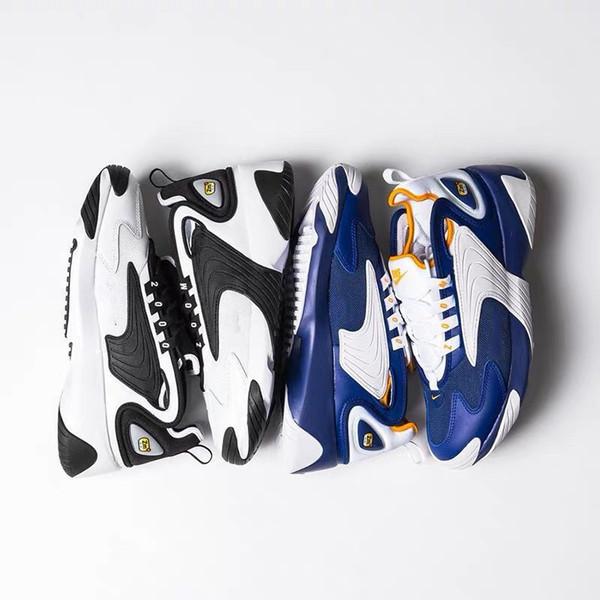 2019 New Zoom 2K Sail White-Black Navy Orange Mens athletic Sports Shoes 90s basketball style M2k Tekno model Fashion Mens Designer Sneakers
