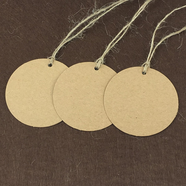 6cm round Kraft Paper Gift Cards/Tags for Wedding Decoration Card Paper /price hang tag 2000pcs + 2000pcs strings