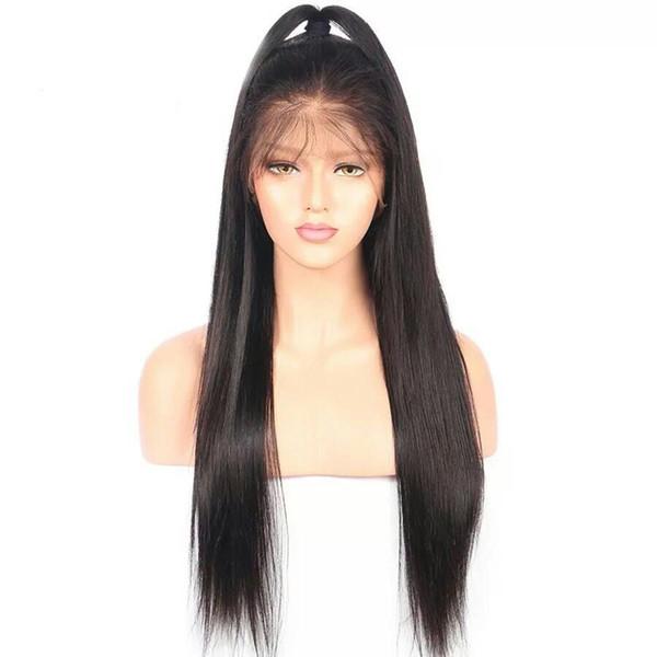 Toptan fiyat uzun ipeksi düz Brezilyalı virgin İnsan saç tutkalsız ipek bankası siyah kadınlar için tam dantel peruk ücretsiz ayrılık