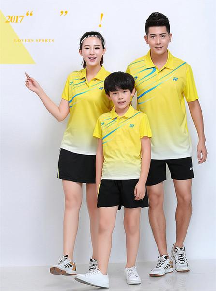 YO NEXX 7302 Schnelltrocknende atmungsaktive Badmintonanzüge Kurzarm-T-Shirt mit Reverskragen Laufsport-Basketballkleidung MenWomenKids YELLOW