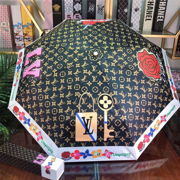 L-2 recién llegados Lujos diseñadores Rain Gear hombres mujer Marca Paraguas de diseño para el sol boda decoración de la playa paraguas plegable automático