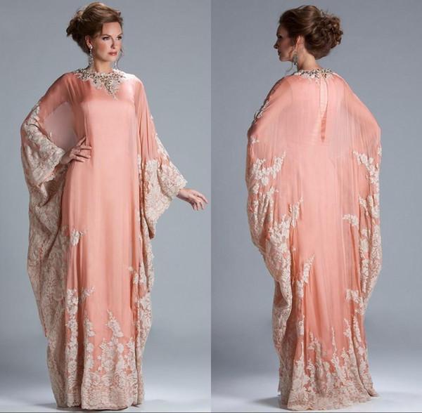 2019 Yeni Şifon Kaftan Dubai Arap Abiye Uzun Kollu Aplikler Dantel Donatılmış Müslüman anne Gelin Elbiseler Artı Boyutu