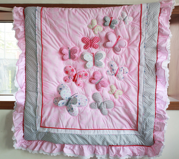 Fashion Crib bedding set for infant girl Bumper set in the crib Pink Baby bedding set 3D Butterfly Quilt Bumper Mattress Cover skirt