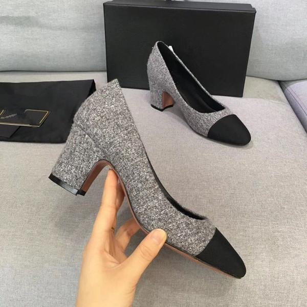 Tasarımcı Dana Derisi Kadın Podyum Yavru Topuklu Slingbacks Pompaları Sandalet Katır Flats Bej Gri Elbise Düğün Tek Ayakkabı mn189602