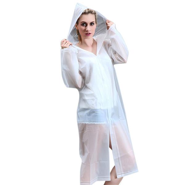 EVA largo impermeable de las mujeres capa de lluvia transparente poncho sudadera con capucha impermeable impermeable portátil verano para senderismo viajes al aire libre
