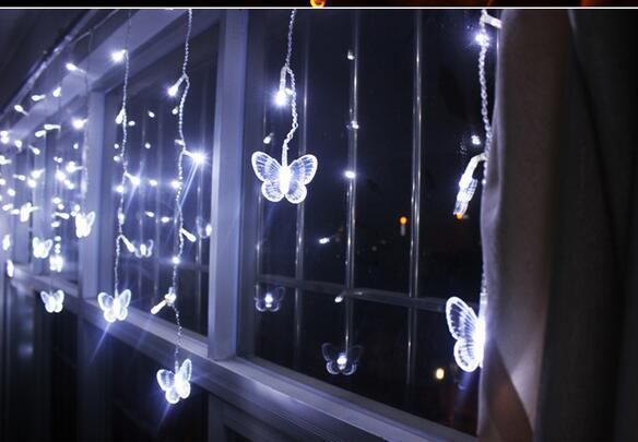 4M*0.65M100 LED Fairy Butterfly Curtain Lights Gerlyanda Decorative LED Christmas Lights For Wedding Birthday Party Decoration