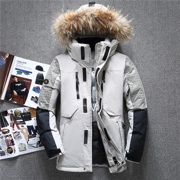 Invierno grande genuino de la piel con capucha de pato caliente chaquetas de los hombres de alta calidad abajo cubren invierno Casual Male Outerwer Parkas JK-1798