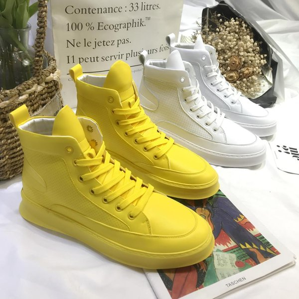 1cee8ff0da33 Mens Hidden Heel High Top Sport Sneakers Ankle Boots Korean Breathable  Casual Shoes Platform White Yellow