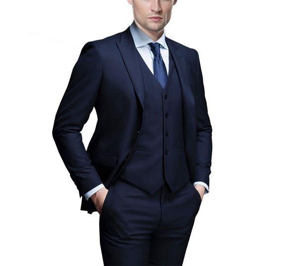 Fashionable Groom Tuxedos Navy Blue Groomsmen Peak Lapel Best Man Suit Wedding/Men Suits Bridegroom ( Jacket+Pants+Vest+Tie ) A257