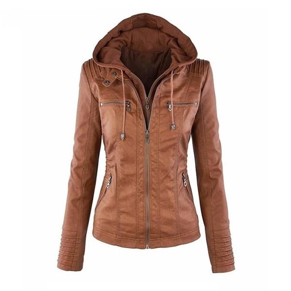 Shujin Faux Leather Jacket Women Autumn Motorcycle Plus Size Ladies Hooded Leather Jacket Casual Streetwear Windbreak OvercoatMX190820