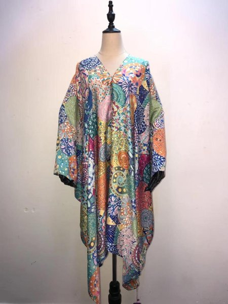 African Dresses for women Beautiful European Printed Silk Women top clothes V-neck summer Beach short dresses for lady