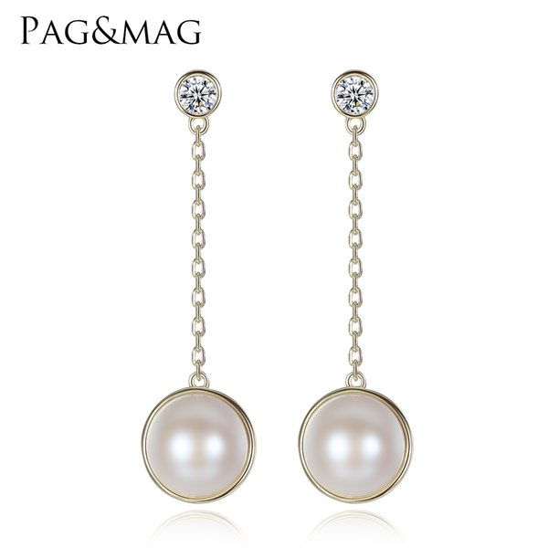 PAG&MAG Brand 925 Sterling Silver Pearls Dangle Best Quality Long Earrings Fashion For Women Drop pearl Earrings Fine Jewelry