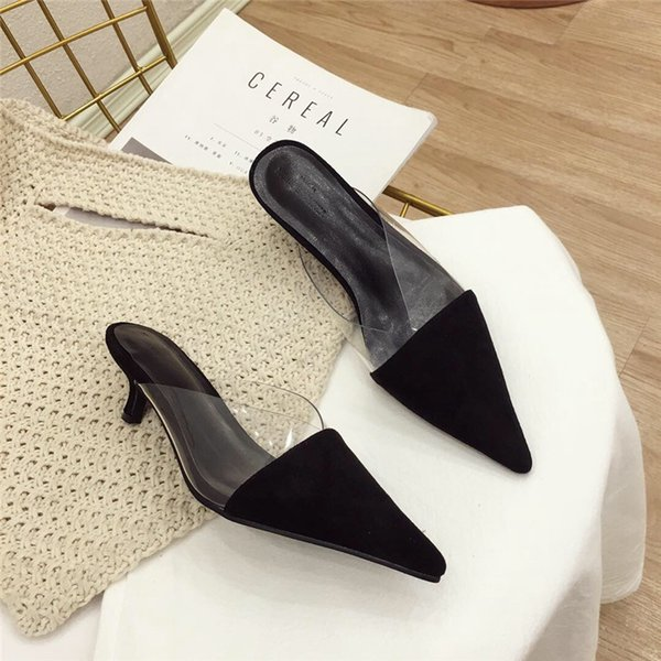 Low Heel Slippers Summer Women Elegant Slides Fashion Rivets Mules For Female Pointed Toe Strange Heels Ladies Shoes 2019