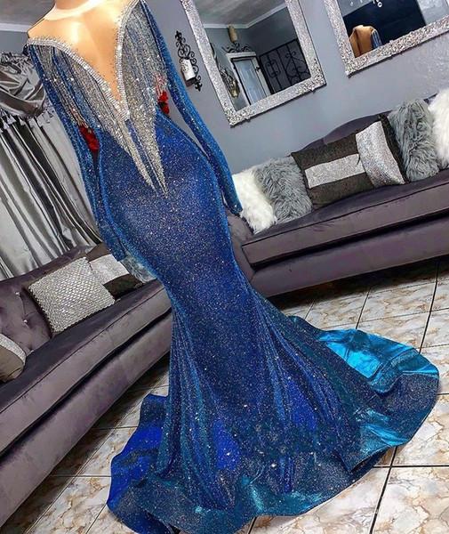 Lantejoulas Sereia Prom Reflexivo Vestidos Beads Sheer Neck Mangas Compridas Sereia Vestidos de Noite Com Borlas Trem Da Varredura Formal Vestido de Festa