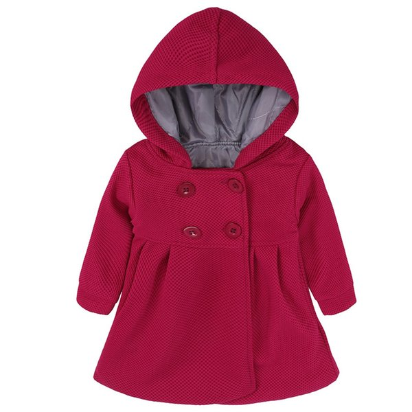 Kids Baby Girls Jackets Coats Autumn Winter Children Long-sleeved Hooded Jackets Solid Color Baby Girls Clothes Party Wearing
