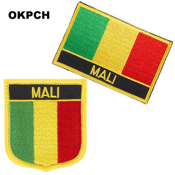 Envío gratis Mali Flag bordado de hierro en parche 2 piezas por juego PT0115-2