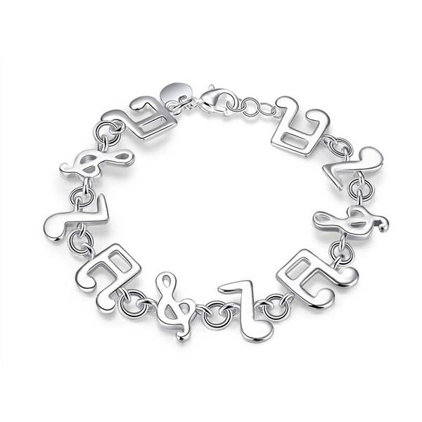 Roman Designed Armbänder S925 Silber Überzogene Musiknote Muster Gliederkette Armband Zubehör Trendy Schmuck Geburtstag Prom Geschenk POTALA242