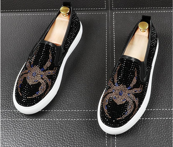 Top Quality New streets trendsetter rhinestone flats Casual Shoes for men loafers Hip hop thick bottom shoes Men designer Dress prom Shoes