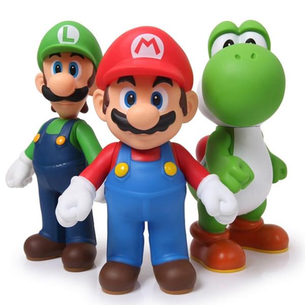 Top Super Mario Bros Yoshi Luigi Mario PVC Figuras de Ação Brinquedos 12 cm Coleção Modelo Engraçado Anime Figuras Crianças Brinquedo Para Crianças DHL Livre