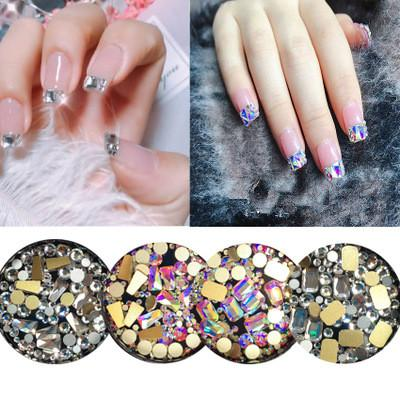 top popular Mixed style Crystal AB Rhinestone nail Decoration 3D transparent diamond nail stick Special shape DIY Manicure Accessories 2019