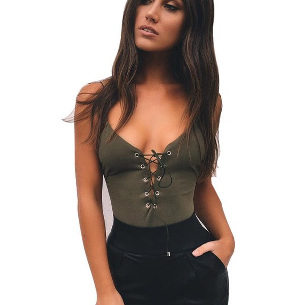 Sexy Lace Up Bodysuit Women Summer Backless Deep V Neck Slim Playsuit Bodycon Rompers Womens Jumpsuit Female Overalls Tops