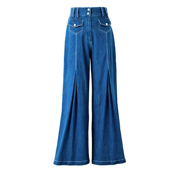 Pocket denim flare pants wide leg pants spring 2019 high waist jeans women ladies plus size streetwear