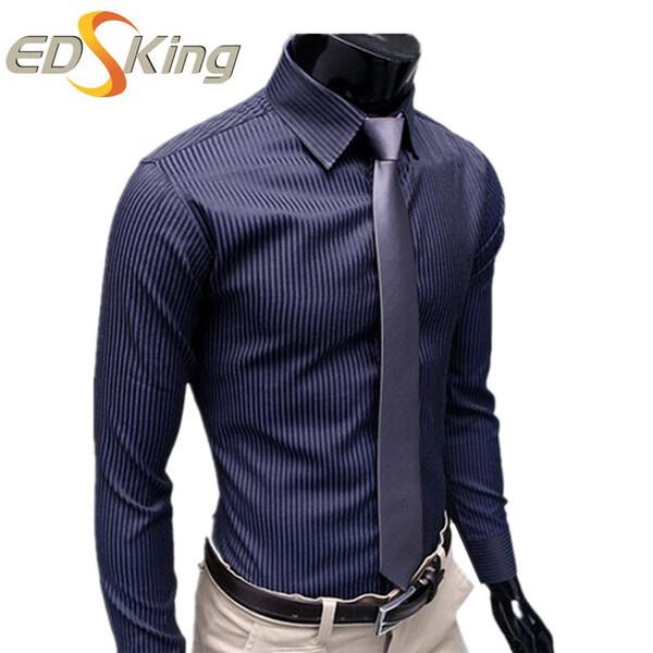 Compre Camisas Para Hombre Ropa Casual De Marca Slim Fit Hemd Camisas Para Hombre Vestir Masculina Chemise Homme Vetement Homme A 1827 Del Kktie