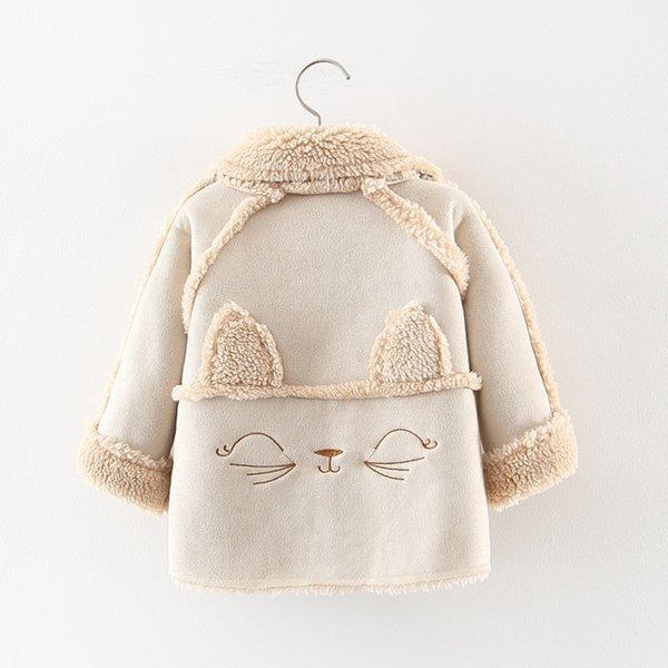 Filles Casual épais manteaux de laine Cartoon Cat enfants de poche boutonnage simple vêtement bébé Enfants de chaud Vestes Vêtements