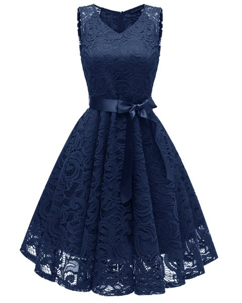 Women Vintage Dresses Newest Design Sleeveless Ruffled Bowknot V Neck Lace Polyester 5 Colors Sexy Evening Brilliant Dress