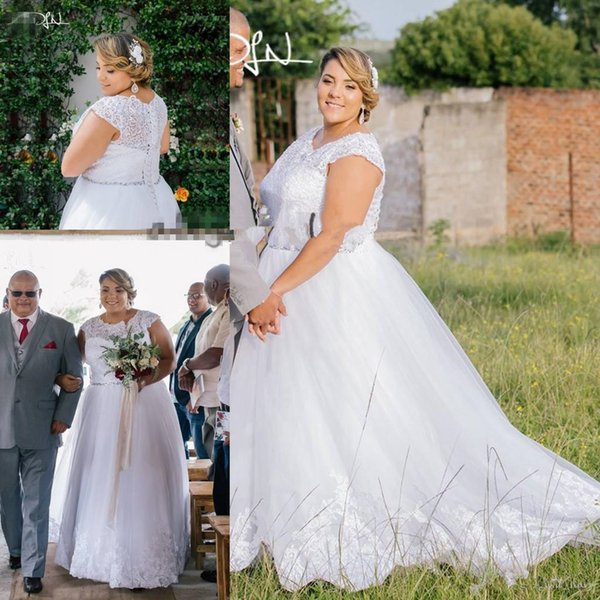 Robe De Mariage Plus Size Wedding Dresses with Beaded Belt 2019 Lace Top Cap Sleeve Corset Lace-up Country Garden Wedding Gow