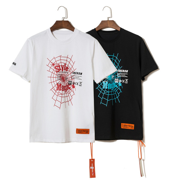 19SS TOP Summer High Quality Heron Preston Spider web Letter printing Short Sleeve Men Women Fashion t shirt streetwear Cotton