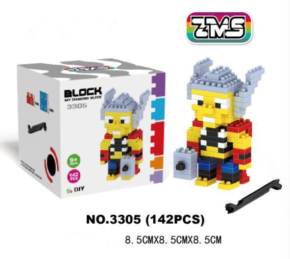 hot Mini Action Figures Bricks Marvel series blocks Model Building kids block Diamond small particle puzzle assembled children's toy xxp19