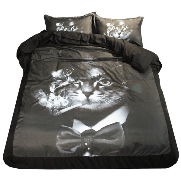 Gentleman Cat Black and White Print Bedding Set Twin Queen King Size Bed Sheets Duvet Cover 160*210 200*230 220*240