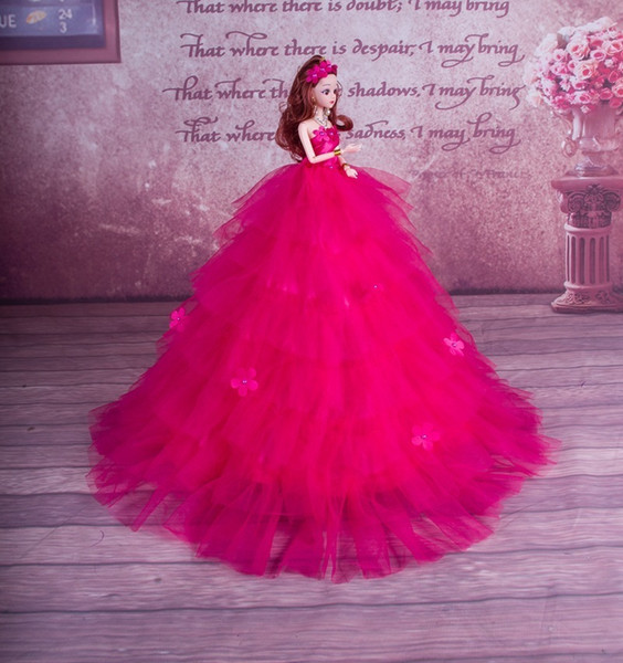 Barbie Doll Wedding Dress Ye Luo Li Suit Girl Snow White Can Galie Lai Thousand Layer Yarn Toys