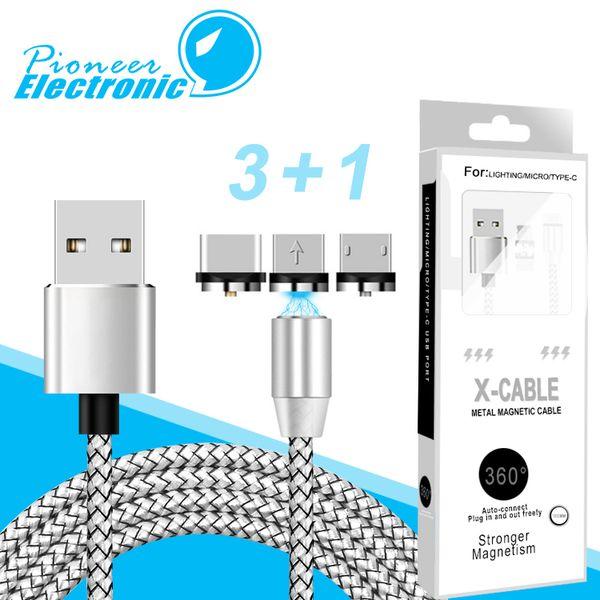3 in 1 Magnetsauger Ladekabel LED Nylon Stärker Metall Magnetkabel 1 Mt Android Micro USB Typ C kabel Für Samsung LG android Paket