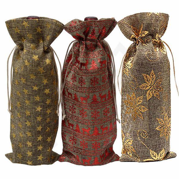 Jüt Şarap Şişesi Çantası Kapakları Şampanya Şarap Kör Ambalaj Hediye Çanta Rustik Hessen Noel Düğün Yemeği Masa Süslemeleri 300 adet T1I987