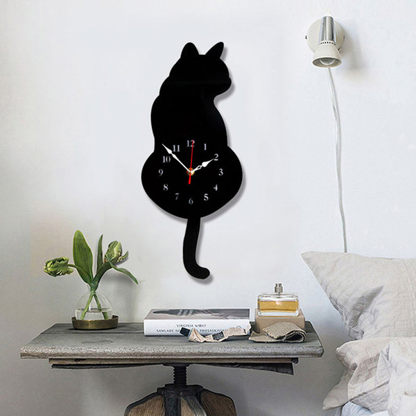 White/Black Wagging Tail Cat Design Wall Clock Kids Bedroom Wall Decoration Unique Gift Creative Cartoon Mute DIY Clock