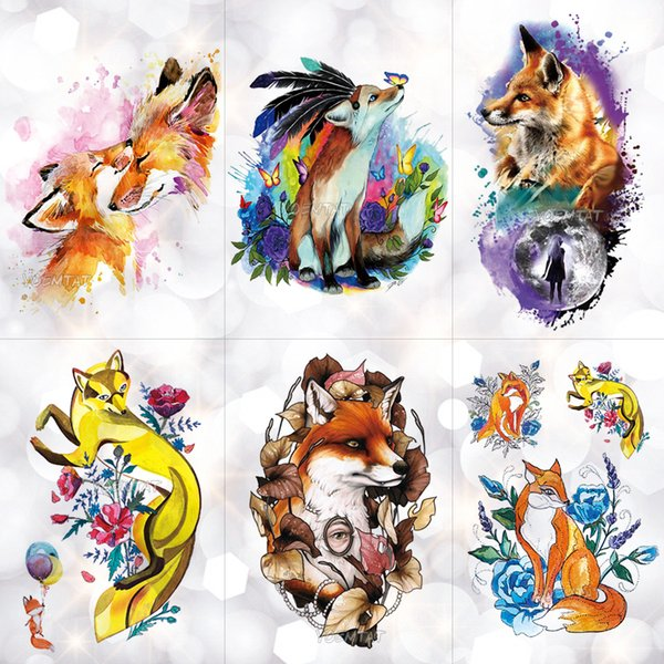Fire Fox Rose Wolf Feather Watercolor Temporary Tattoo Sticker Moon Waterproof Tattoos Body Art Arm Fake Tatoo Men Women