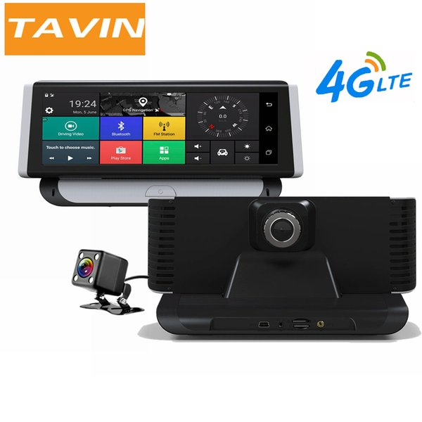 tavin car dvrs 4g adas android 5.1 8.0 inch rearview mirror camera gps wifi 1080p video recorder navigation dash cam dual lens