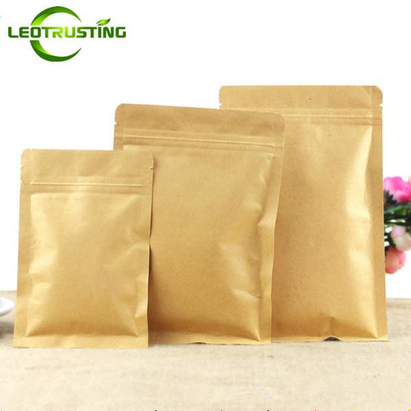 Leotrusting 100 teile / los Wiederverschließbare Flache Unterseite Kraftpapier Druckverschlussbeutel Verpackung Reißverschlussbeutel Kaffeepulver Geschenkpapier Aufbewahrungsbeutel
