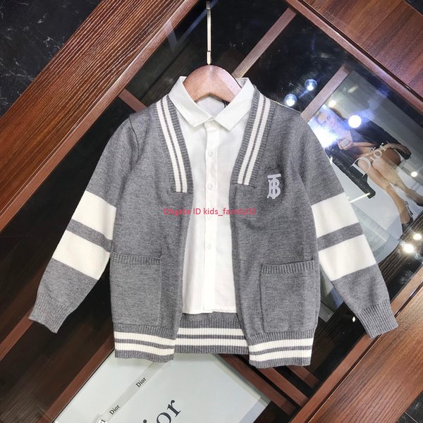 Autumn children sweaters kids designer clothing boys and girls cardigan fake two pieces knitted cotton sweater