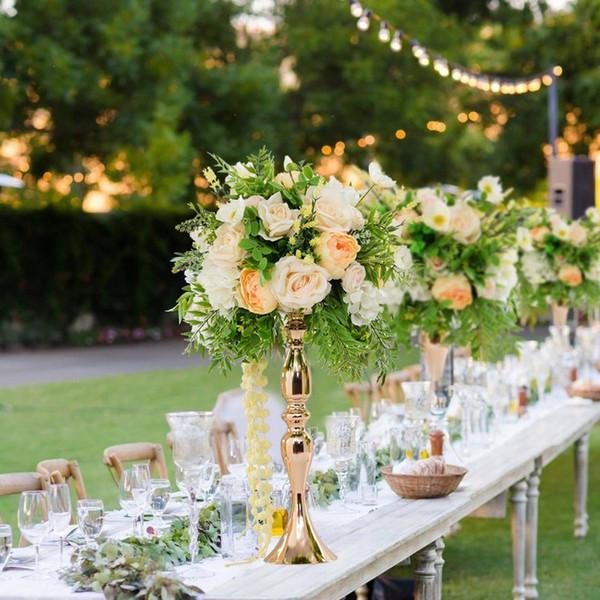 "Gold Candle Holders 50cm/20"" Metal Candlestick Flower Vase Table Centerpiece Event Flower Rack Road Lead Wedding Decoration"