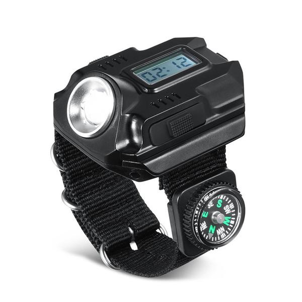 Kamp El Tarzı Fenerleri Pusula Ile Saf Renk USB Şarj Ayarlanabilir Bilek Işık Torch Işıkları İzle Lambaları 3qt E1
