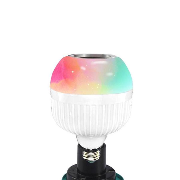 E27 RGB Altavoz Bluetooth Inteligente Bombilla LED Luz de 12W Reproducción de música Lámpara LED inalámbrica regulable con control remoto de 24 teclas