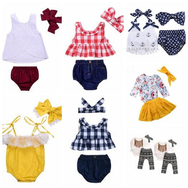 top popular Baby Clothes Girls Grid Tassel Suits Kids Polka Dot Floral Clothing Sets Fashion Boutique T Shirt Rompers Diaper Pants Headband Outfits 4905 2021