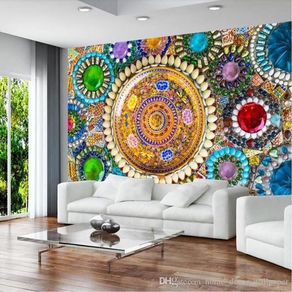 Benutzerdefinierte Sofa Hintergrund Wände Fresko Vlies Europäischen Vintage böhmischen Jade Mosaik Fliese Wandbild Hintergrund Tapete Wandbild
