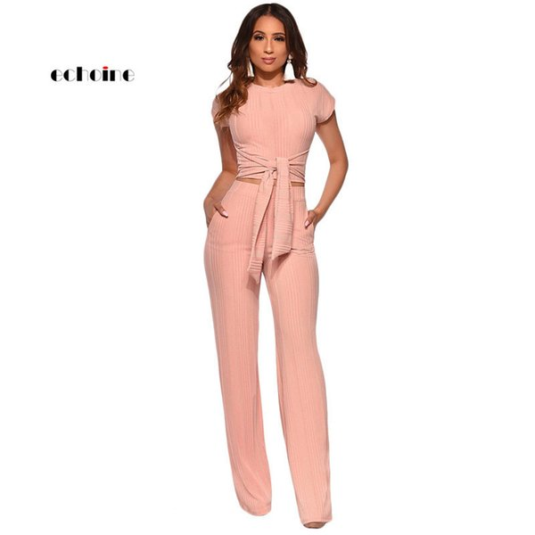 Echoine Women Sport Two Piece Set O-Neck Sashes Lace Up Knitted Ribbed Tops Short Sleeve Casual Suits Elastic Loose Long Pants T5190614