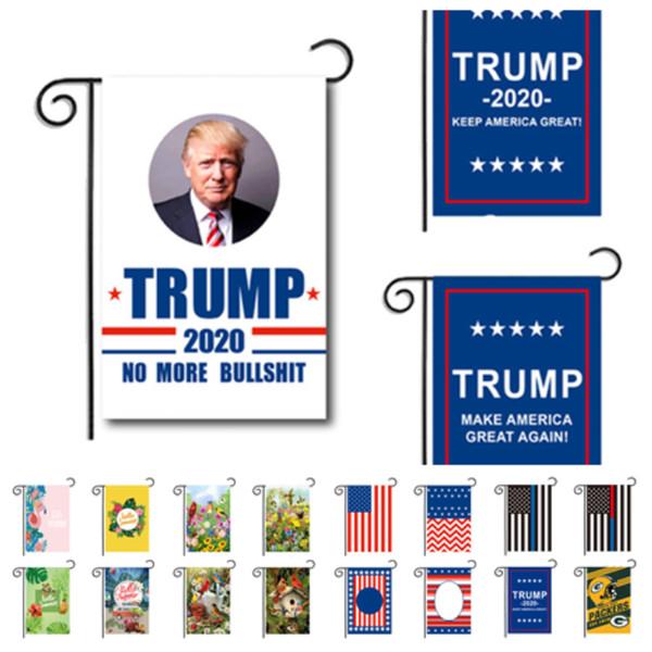 quente 30 x 45 cm Bandeira frente e verso Bandeiras Trump Garden Flagsoutdoor decorar Chunya Textile Bandeira americana do jardim Bandeira de Páscoa T2I5208